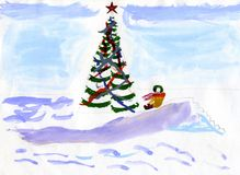 De spelen van de winter - de hand getrokken illustratie van het jonge geitje stock illustratie