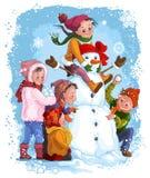 De Spelen van de winter. Kinderen en sneeuwman Stock Foto's