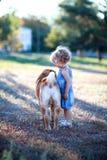 De spelen van het kind met een hond Royalty-vrije Stock Fotografie