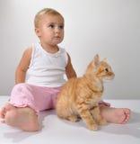 De spelen van het peuterkind met een kat royalty-vrije stock fotografie