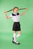 De spelen van het schoolmeisje met gevlecht haar Stock Afbeelding