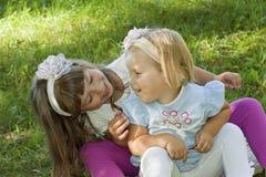 De spelen van kinderen op een gras Stock Foto
