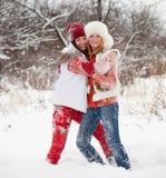 De spelen van meisjes bij de winterpark Stock Afbeelding