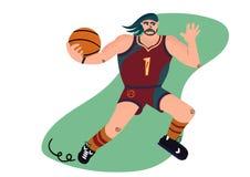 De speler die van het beeldverhaalbasketbal de bal proberen over te gaan royalty-vrije illustratie