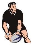 De speler die van het rugby bal overgaat royalty-vrije illustratie