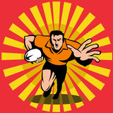 De speler die van het rugby met bal loopt vector illustratie