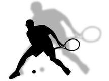 De speler en de schaduw van het tennis Royalty-vrije Stock Foto
