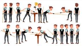 De Speler Mannelijke Vector van de snookermens biljart Kledingstuktoebehoren Mensen het spelen Beeldverhaalatleet Character Illus royalty-vrije illustratie