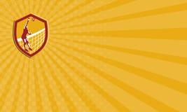 De Speler Spike Ball Net Retro Shield van het Adreskaartjevolleyball Royalty-vrije Stock Afbeeldingen