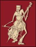 De speler van de cello - lijntekening - vector Royalty-vrije Stock Afbeeldingen