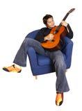 De speler van de gitaar Stock Foto's