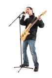 De speler van de gitaar die op het wit wordt geïsoleerd? Stock Afbeeldingen