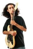 De speler van de gitaar die op het wit wordt geïsoleerde Royalty-vrije Stock Fotografie