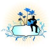 De speler van de gitaar op abstracte frame achtergrond Stock Foto's