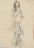 De speler van de klarinet Een hand getrokken hoogtepunt - met maat originele illustratie, Stock Foto's