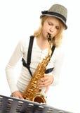 De Speler van de saxofoon Royalty-vrije Stock Foto's