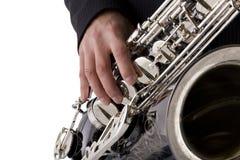 De speler van de saxofoon Stock Afbeelding