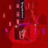 De speler van de saxofoon in een straat bij nacht Stock Foto's