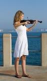 De speler van de viool op strand Royalty-vrije Stock Foto's