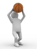 De speler van het basketbal met bal op witte achtergrond Royalty-vrije Stock Fotografie