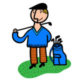 De speler van het golf met zak Stock Afbeeldingen
