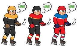 De speler van het hockey denkt over geld Vector Illustratie