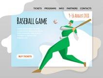 De speler van het honkbal met knuppel Vectorillutration, ontwerpmalplaatje van sportplaats, kopbal, banner of affiche royalty-vrije illustratie