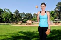 De Speler van het Honkbal van de vrouw Stock Foto