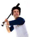 De Speler van het honkbal of van het softball die op Wit wordt geïsoleerdw Royalty-vrije Stock Fotografie