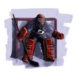 De speler van het ijshockey royalty-vrije illustratie