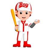 De speler van het jongenshonkbal royalty-vrije illustratie
