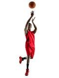 De speler van het mensenbasketbal isoleerde silhouet stock foto's