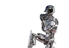 De speler van het robothonkbal in geïsoleerde actie, Het concept van de de kunstmatige intelligentietechnologie van de Cyborgrobo stock illustratie