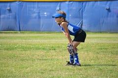 De Speler van het softball Klaar voor het Volgende Spel Royalty-vrije Stock Afbeelding