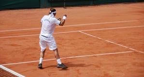 De speler van het tennis. De overwinning Royalty-vrije Stock Afbeelding