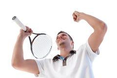 De speler van het tennis gelukkig voor het noteren Stock Foto's