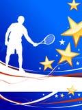 De Speler van het tennis op Abstracte Patriottische Achtergrond Royalty-vrije Stock Afbeelding