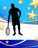 De Speler van het tennis op Abstracte Patriottische Achtergrond Stock Foto