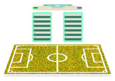 De speler van het voetbalgebied voor realistisch plannend scorecard playe Stock Foto