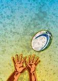 De spelerhanden die van het rugby bal vangen Stock Afbeelding