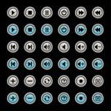 De spelerpictogrammen van media Stock Foto's
