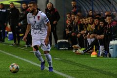 De spelers in actie bij Europese Kampioenschaps Kwalificerende gelijke passen tussen Andorra versus Albanië, definitieve score EN royalty-vrije stock fotografie