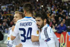 De spelers die van dynamokyiv genoteerd doel, de Ligaronde van UEFA Europa van 16 tweede beengelijke tussen Dynamo en Everton vie Stock Afbeelding