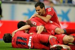 De spelers die van Osasuna doel vieren royalty-vrije stock foto's
