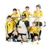 De spelers en de keeper van Floorball royalty-vrije stock foto