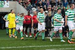 De spelers gaan de hoogte van Pairc Ui Chaoimh voor de Liam Miller Tribute-gelijke in royalty-vrije stock foto