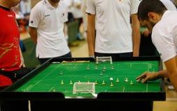 De spelers tijdens het spel van het de wereldkampioenschap van het Lijstvoetbal detailleren stock fotografie