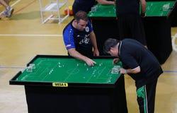 De spelers tijdens het spel van het de wereldkampioenschap van het Lijstvoetbal detailleren royalty-vrije stock foto