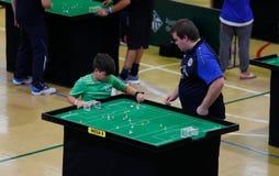 De spelers tijdens het spel van het de wereldkampioenschap van het Lijstvoetbal detailleren stock foto
