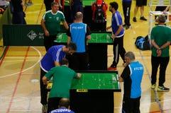 De spelers tijdens het spel van het de wereldkampioenschap van het Lijstvoetbal detailleren royalty-vrije stock afbeeldingen